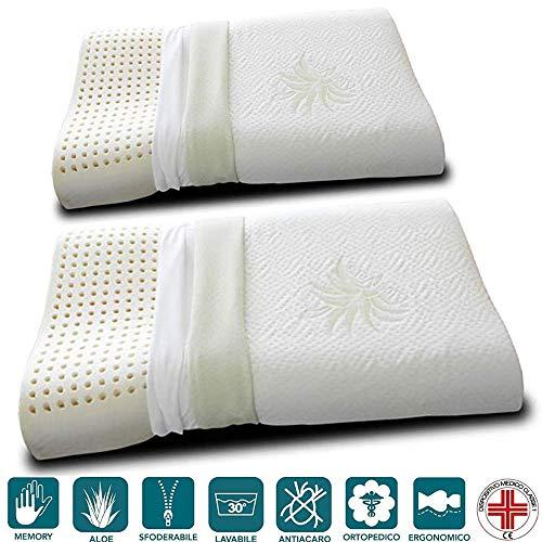 Evergreenweb - Paire de coussins Memory Foam avec housse Aloe Vera, modèle double vague, tissu anti-acariens déhoussable et lavable - oreillers à mémoire de forme orthopédique ergonomiques respirant