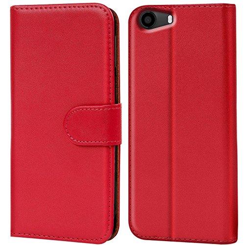 Verco Lenny 2 Hülle, Handyhülle für Wiko Lenny 2 Tasche PU Leder Flip Case Brieftasche - Rot