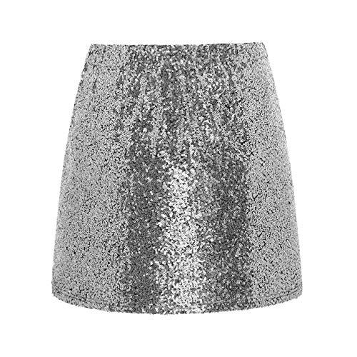 Metme Damen Glitter, Figurbetontes Kleid Stretch Glänzender Minirock Mit Pailletten Silber S,EU 38