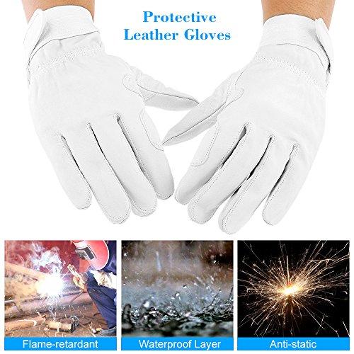 KKmoon Schützende Leder Handschuhe Wasserdicht flammhemmend schnittfeste Hitzeschutzhandschuhe für Bauherren Sanitation Arbeiter