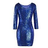 Langarm Abendkleid Damen,Briskorry Frauen Glitzer Minikleid Cocktailkleid Abendkleid Partykleider Etui Kleid mit Pailletten Rückenfrei Kurz Stretch Kleider