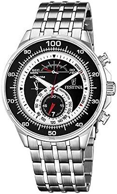 Festina hombre reloj de cuarzo con cronógrafo negro y plata pulsera de acero inoxidable F6830/2