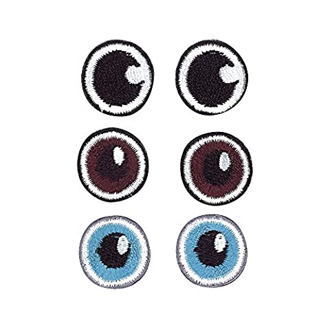 Écusson brodé thermocollant - Yeux - Bleu brun et noir