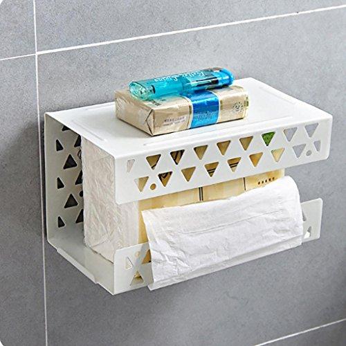 Toilettenpapierhalter, wanshop® Aufkleber WC-Papier Rolle Tissue Rack Halter zur Wandmontage Ablage, weiß -