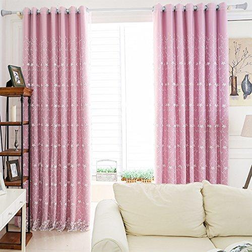 1 pc tende ricamate tende finestra oscuranti con tulle per soggiorno, camera da letto (2 strati: tende + tulle, 213cmx107cm)