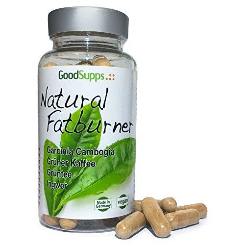 Natural Fatburner - Garcinia Cambogia, Grüner Kaffee, Grüner Tee, Ingwer und Pfeffer Extrakt - 60 vegane Kapseln | 100% natürlich | MADE IN GERMANY | VEGAN | Unterstützt Fettverbrennung | Regt Stoffwechsel an | Hemmt Heißhungerattacken