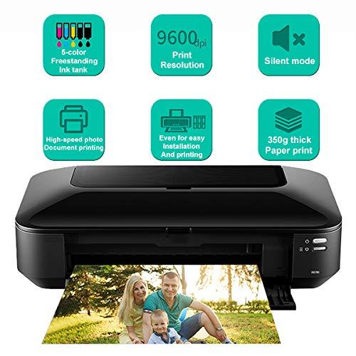 TANCEQI Multifunktionsdrucker (A3 +, 5-Farben-Tintentank Frei Stehenden, 9600 DPI, Stumm-Modus) Mit WLAN-WiFi/Netzwerk/USB (2,4 Ghz)