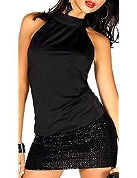 jowiha® Sexy Clubkleid Minikleid mit einem Bund und Rockteil aus Pailletten Stoff