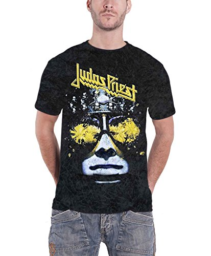 Judas Priest Hellbent For Leather Herren Nue Acid Wash Puff Print T Shirt (Herren Acid-wash Print)