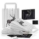 SET: 10 Papiertüten schwarz weiß + 10 Weihnachtskarten Tafelkreide retro look HIRSCH Elch Rentier Klappkarten mit Kuvert: Verpackung Weihnachtsgeschenke Weihnachtstüte Weihnachten give-away