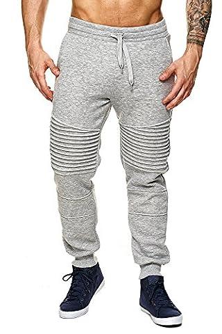 MEGASTYL Herren Jogging-Hose Sweat-Pants Biker-Style Kordelzug-Details Slim-Fit 100% Baumwolle Grau Rot Schwarz Weiß, FARBE:Grau, Größe:S