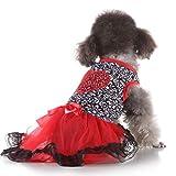 Hawkimin Hund Pullover xshund Pullover xs Sexy Haustier-Frühling und Sommer-Liebes-Herzdruck Rock-Bogen-Knoten-Krawatte Hundekostüme Hundekleidung