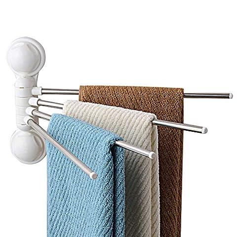 Serviette de 180° de rotation Ventouse en acier inoxydable 4bar Swing Serviette Rack Cintre support mural support Organisateur pour salle de bain et cuisine–pas besoin d'outils