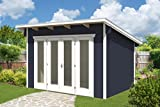 SKAN HOLZ Gartenhäuser, Blockbohlenhaus Ostende 1, schiefergrau, 250 x 350 x 249,5 cm, 603695-13