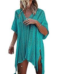 47f0bb3010b21 Tkiames Women s Bathing Suit Beach Bikini Swimsuit Swimwear Cover Up  Crochet Dress