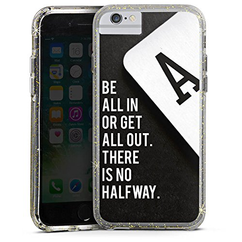 Apple iPhone 6 Plus Bumper Hülle Bumper Case Schutzhülle Poker Spruch Statement Bumper Case Glitzer gold