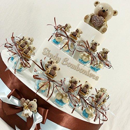 Vasetti portaconfetti battesimo nascita bimbo con orsetti daddyheart (torta completa con 25 vasetti e centrale)