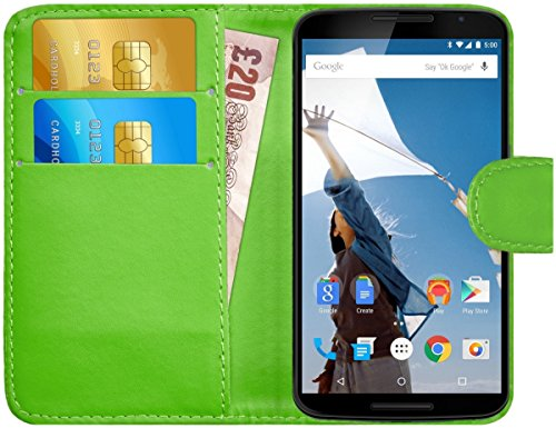 G-Shield Motorola Google Nexus 6 Hülle mit Kartenfach Ledertasche Klapphülle PU Leder Schutzhülle Tasche Flip Case Cover Etui Handyhülle mit Displayschutzfolie und Stylus - Grün