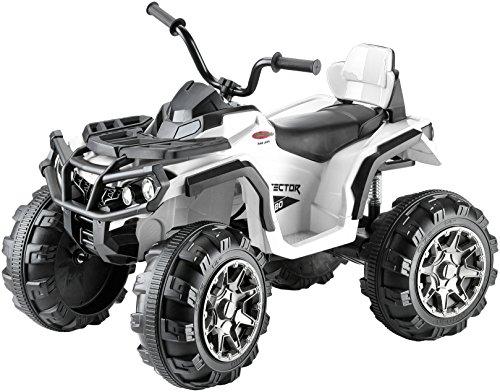 elektrisches kinderfahrzeug Jamara 460248 - Ride-on Quad Protector weiß 12V – 2 Leistungsstarke 12V Antriebsmotoren und leistungsstarker 12V Akku für lange Fahrzeit, 2-Gang Turboschalter, Ultra-Gripp Gummiringe an Antriebsrädern