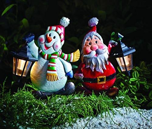 LD Weihnachten Deko XXL Metall Gartenstecker Dekofigur Schneemann Weihnachtsmann mit Solarlaterne (Lieferzeit ist 3-7 Tagen)