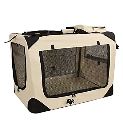 Songmics S - XXXL Folding Portable Soft Fabric Pet Carrier Beige
