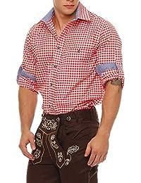 Gennadi Hoppe Trachten Herren Hemd Trachtenhemd Herren Hemd Langarmhemd Freizeithemd für Oktoberfest Freizeit