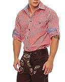 Gennadi Hoppe Trachten Herren Hemd Trachtenhemd kariert Wiesn Oktoberfest (L, rot/weiß)