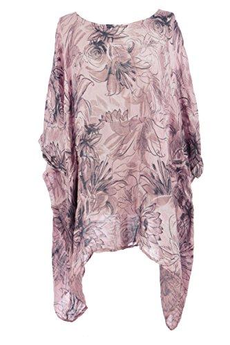 Ladies Women Italian Lagenlook Floral 2 Pocket Asymmetric Linen Kaftan Tunic Top Blouse One Size Plus (Light Pink, One Size) (Floral Linen Tunic)