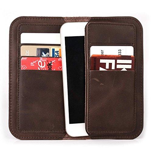 Étui portefeuille en cuir véritable pour Yezz ANDY 4E LTE Coque marron Tan marron