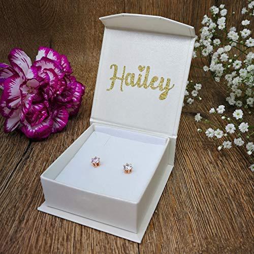 Confezione regalo con orecchino di perle personalizzato con brillantini in oro scintillante e oro lucido