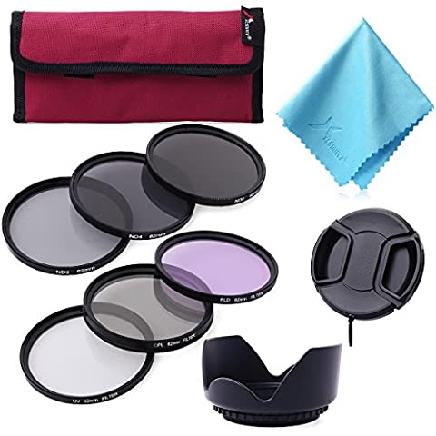 62mm Filter Kit Set de Filtros UV CPL FLD ND2 ND4 ND8 para DSLR Digital Cámara LF421