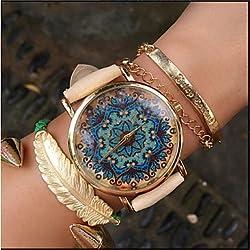 Relojes Hermosos, Reloj de Paisley, reloj de cuero de estilo vintage, mujeres relojes, reloj unisex, reloj novio, boteh revolución hippie ( Color : Beige , Talla : Para Mujer-Una Talla )