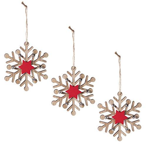 Wedestock Lot DE 3 sujets de Noël Flocon en Bois à Suspendre avec étoile Rouge et grelots