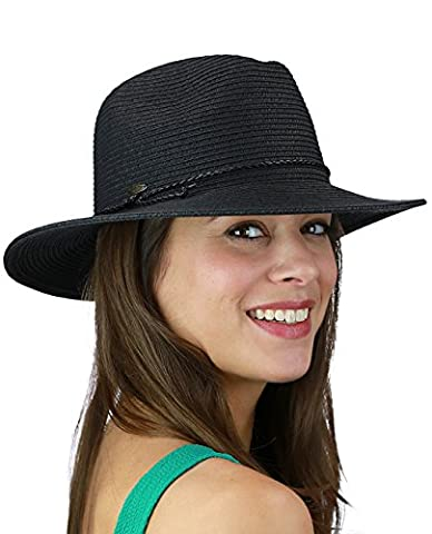 C.C Braided PU Leather Trim Flop Brim Panama Fedora Summer