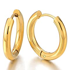 Idea Regalo - 2 Colore Oro Pianura Cerchio Orecchini a Cerchio, Huggie Orecchini da Uomo Donna, Acciaio Inossidabile