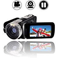 """Camcorder Video Camera Full HD 1080p Digital Camera 24.0MP Webcam 2.7"""" LCD Rotatable Screen 16x Digital Zoom Camcorder Camera with Pause Function"""