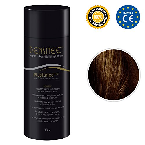 DENSITEE Fibras capilares • Color Castaño oscuro • Caida de cabello • Polvo de Queratina Natural • Maquillaje Capilar • hombres y mujeres • 28 Gramos • Aumenta el volumen • Retoca las raíces y canas • Disimula la pérdida de cabello al instante