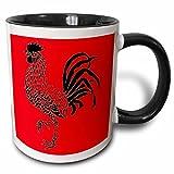 220632_4 Keramiktasse mit 3D-Rosenmotiv, zweifarbig, Schwarz/Rot