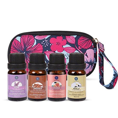 Lagunamoon Set de 4pcs l'Huile Essentielle Aromathérapie dans les Diffuseurs, Humidificateurs pour dormir, sauna facial, spa, diffusion, bain 10ML(clou de girofle, orange, canelle, vanille)