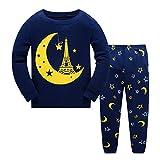 Tkiames Mädchen Pyjama Giraffe Langarm Baumwolle Schlafanzug Set Nachtwäsche Nachtwäsche Gr. 2-3 Jahre, Navy