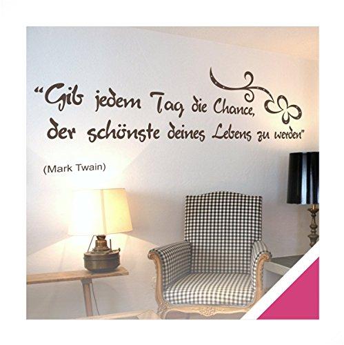 Exklusivpro Wandtattoo Spruch Wand-Worte Gib jedem Tag die Chance, der schönste deines Lebens zu werden. mit SWAROVSKI (zit03 pink) 120 x...