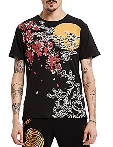 PIZOFF Herren 3D Druck Japan Stickerei T-Shirt WaruRa Oraora Kirsche Karpfen KOI Print Ukiyo-e Style M