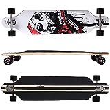 FunTomia Longboard Skateboard Drop Through Cruiser Komplettboard mit Mach1 High Speed Kugellager T-Tool mit und ohne LED Rollen (Modell Freerider Ahornholz - Farbe weiß Skull)