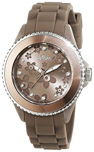 s.Oliver SO-2561-PQ - Reloj analógico de cuarzo para mujer, correa de silicona color gris (agujas luminiscentes)