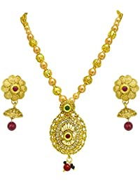 Surat Diamonds Elegantly Designed Colored Stone, Shell Pearl And Gold Plated Pendant Necklace & Earring Set For...