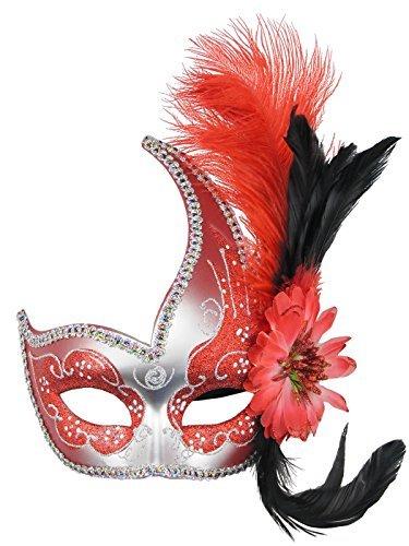 Coddsmz Venezianische Augenmaske Kostüm Zubehör Fluff Feder Diamant Spitze für Party Ball Masken (Rot)