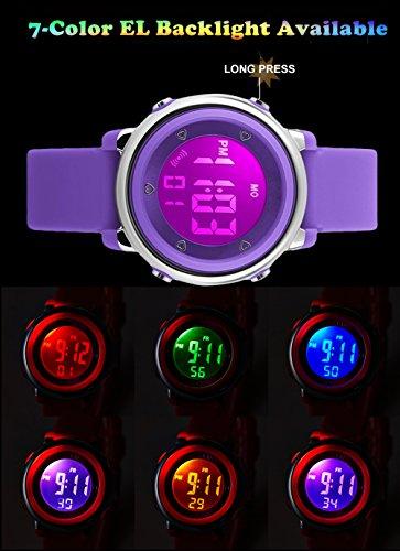 Kinder Digital Sport Uhren – Mädchen 5 Bar wasserdicht Sportuhr mit Wecker, Stoppuhr Armbanduhr mit 7 LED Hintergrundbeleuchtung für Kinder von YESURE