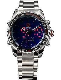 Tiburón Hombres de cuarzo analógico pantalla Led azul Dial banda de acero inoxidable reloj deportivo