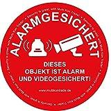 Aufkleber 9,5 cm * Dieses Objekt ist alarm- und videogesichert *, rund