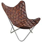 Indoortrend.com Butterfly Chair Sessel Design Lounge Stuhl Vintage echt Leder braun Loungesessel